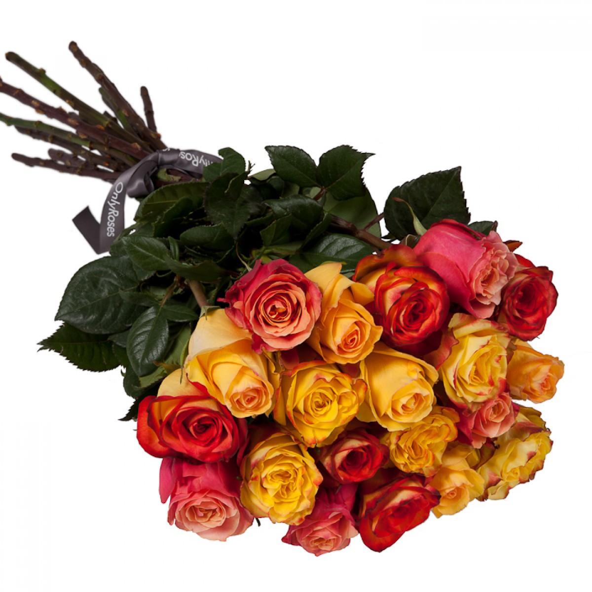 Букет от 25 до 51 рози в оранжево/жълта гама (ти избираш броя)