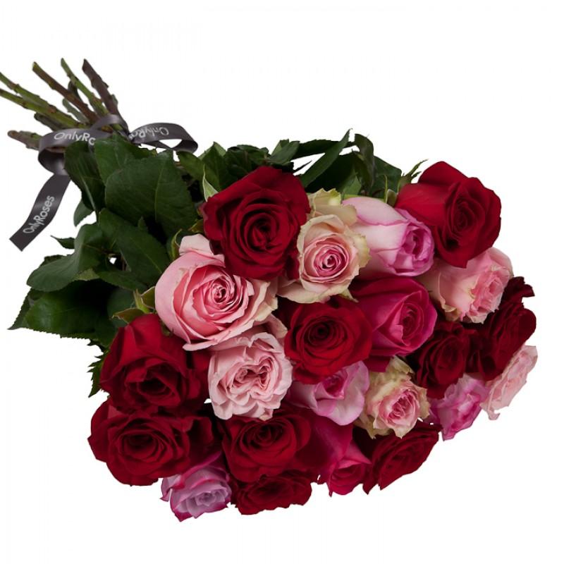 ВСИЧКИ БУКЕТИ РОЗИ - Букет от 15 до 25 рози в червено/розова гама (ти избираш броя)