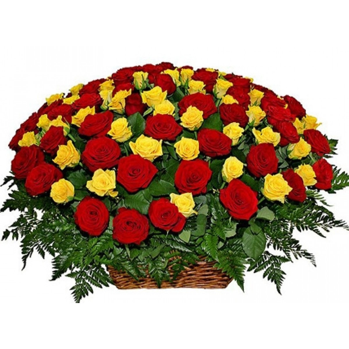 Кошница от 101 червени и жълти рози и зеленина