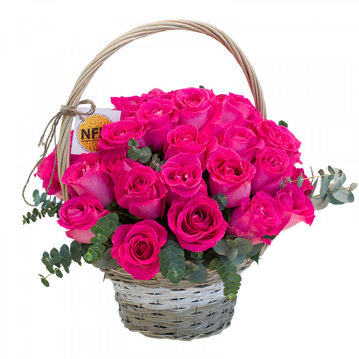 Кошница от 35 малинови рози и евкалипт